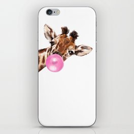 Bubble Gum Sneaky Giraffee iPhone Skin