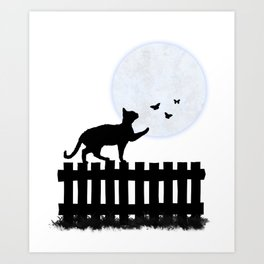 Playful Cat on a Fence Art Print