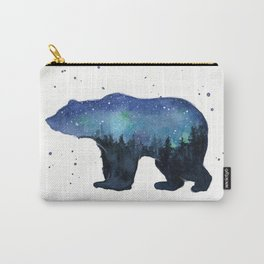 Forest Bear Silhouette Watercolor Galaxy Carry-All Pouch