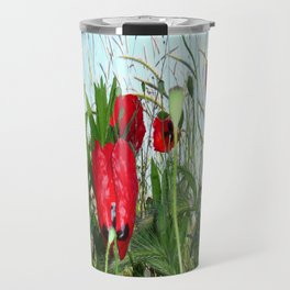Landscape Close Up Poppies Against Morning Sky Travel Mug