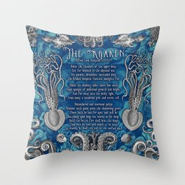 The Kraken (Blue) Throw Pillow