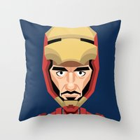 robert downey jr Throw Pillows featuring Robert Downey Jr, vector caricature by Kaexi