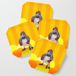 The Energetic Zebra Finch with Boxing Gloves Coaster
