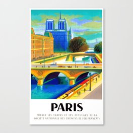 1957 Paris Notre Dame Cathedral French Travel Poster Canvas Print