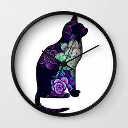 Cat in succulents 1 Wall Clock
