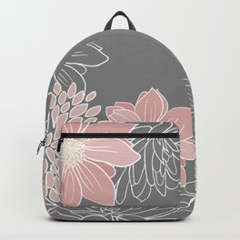 Festive, Floral Prints and Line Art, Pink and Gray Backpack