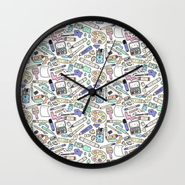 Kawaii Art Supplies Wall Clock