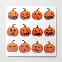 Pumpkin Emoji T-Shirt, Pumpkin Shirt Emoji Halloween Costume Metal Print