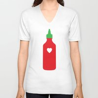 """sriracha V-neck T-shirts featuring Sriracha Print - """"Everything Tastes Better With You"""" by The Best Part"""