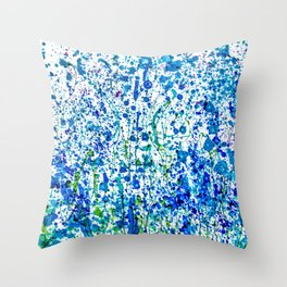 Splattered Blue! Transparent Floral Abstract - Painting Throw Pillow