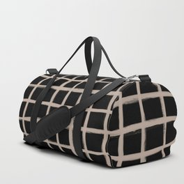 Strokes Grid - Nude on Black Duffle Bag