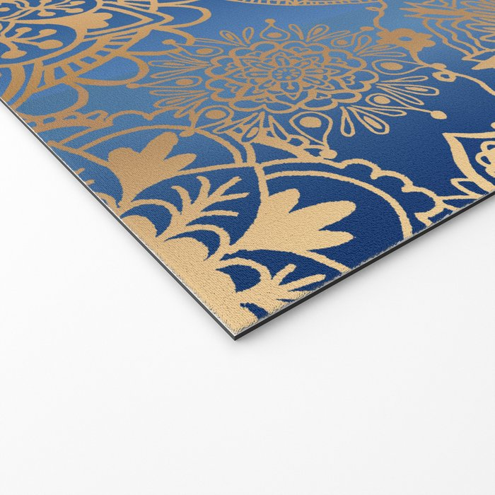 Blue and Gold Mandala Pattern Welcome Mat