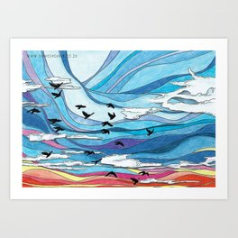 Birds flying at sunset: abstract colorful sunset sky illustration- nature landscape Art Print