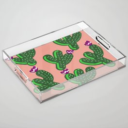 Prickly Cactus with Purple Flowers Acrylic Tray
