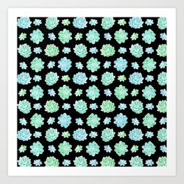 Modern black teal turquoise trendy cactus floral pattern Art Print