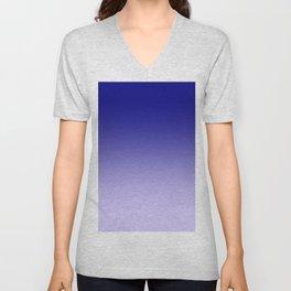 Navy Blue to Pale Violet Linear Gradient Unisex V-Neck