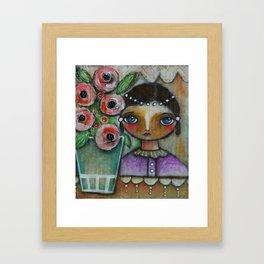 Eastern peony girl Framed Art Print