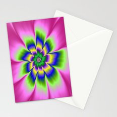 Green Blue and Yellow Daisy Flower on Pink Stationery Cards