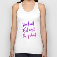 workout Tank Tops featuring Neon workout quote by nneko