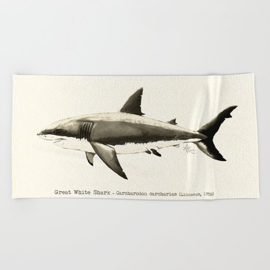 Carcharodon carcharias II ~ Great White Shark Beach Towel