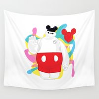 baymax Wall Tapestries featuring Baymax by The Space Wanderer