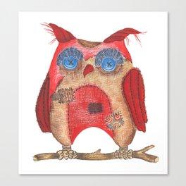 Fun textile owl Canvas Print