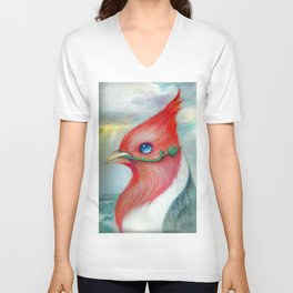 the Red-crested cardinal held the weeds in its beak. Unisex V-Neck