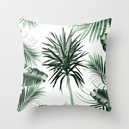 Tropical Summer Vibes Leaves Mix #2 #tropical #decor #art #society6 Throw Pillow