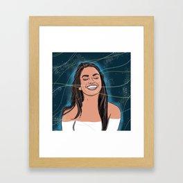 Autumn Happy Girl Framed Art Print