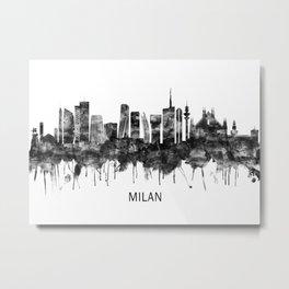 Milan Italy Skyline BW Metal Print