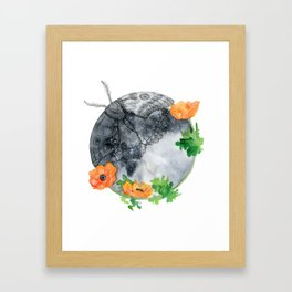 Moth & Moon Framed Art Print