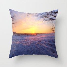 Snowed in peat fields Throw Pillow