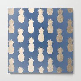 Gold Pineapples on Aegean Blue Metal Print