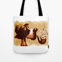 the hound Tote Bags featuring Sherlock Hound by Eileen Marie Art