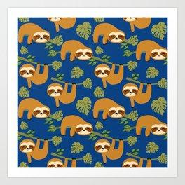 Cute Sloths on Blue, Baby Sloth Hanging Art Print