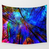 bedding Wall Tapestries featuring Colorful forest by haroulita