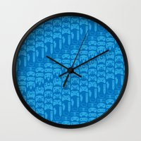 video game Wall Clocks featuring Video Game Controllers - Blue by C.Rhodes Design