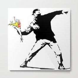 Banksy Flower Bomber Metal Print