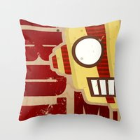 robot Throw Pillows featuring Robot by LindseyCowley