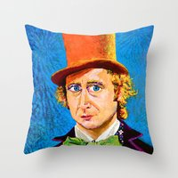 willy wonka Throw Pillows featuring Wonka by Jordan Soliz