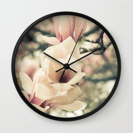Magnolia Tree Bloom.  Flower Photography Wall Clock