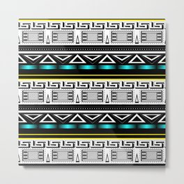 Black and white c turquoise abstract striped pattern . Metal Print