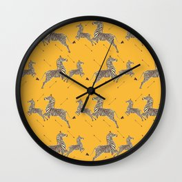 Royal Tenenbaums Zebra Wallpaper - Mustard Yellow Wall Clock