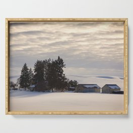 Winter Farm at Golden Hour - Palouse, Washington State  Serving Tray