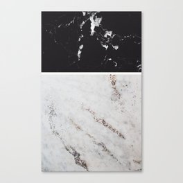 Black Marble & White Glitter Marble #1 #decor #art #society6 Canvas Print