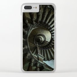 Brown wooden spiral staircase Clear iPhone Case