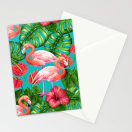 Flamingo birds and tropical garden          watercolor Stationery Cards