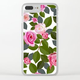 Pink Roses and Leaves Hand Drawn Pattern Clear iPhone Case