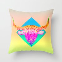 bull Throw Pillows featuring Bull  by Anders Teigene