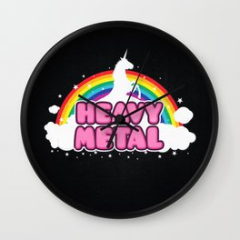 HEAVY METAL! (Funny Unicorn / Rainbow Mosh Parody Design) Wall Clock